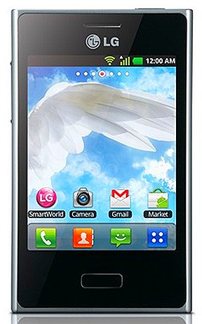 LG OPTIMUS L3 L-STYLE SMARTPHONE ANDROID 2.3 GINGERBREAD Modern Square Style and Harmonized Design Contrast and metallic accents 3.2-inch QVGA display screen white, black,  pink SINGAPORE