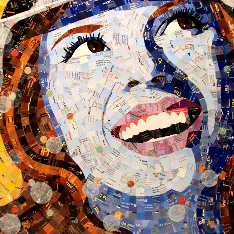 Junk Mail Portraits by Sandhi Schimmel Gold