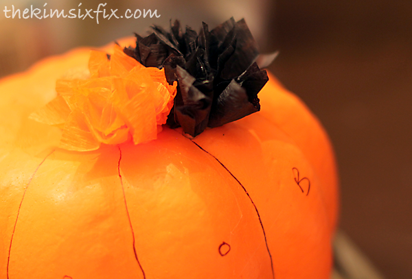 Crepe paper black orange pumpkin