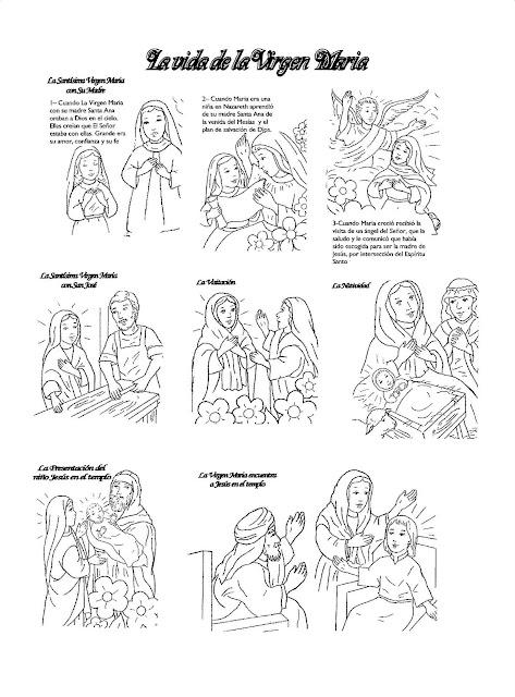 La Virgen Maria Su Vida En Viñetas Infantiles Para Pintar