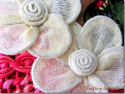 two burlap flowers