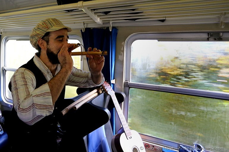 Man playing flute on train