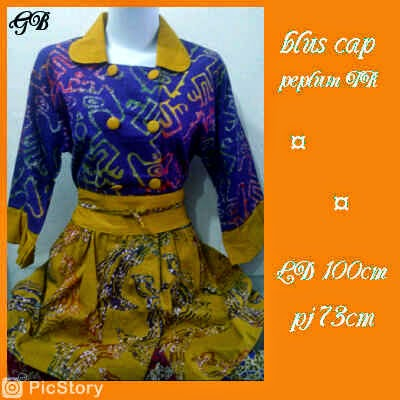 model blus batik peplum cap