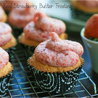 Yellow Cupcake with Real Strawberry Butter Frosting.