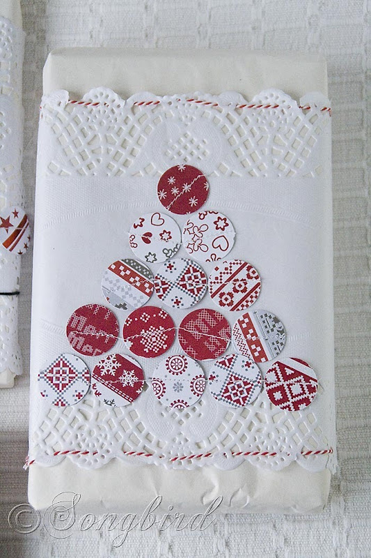 Songbird Christmas White Red Gift Wrapping 8