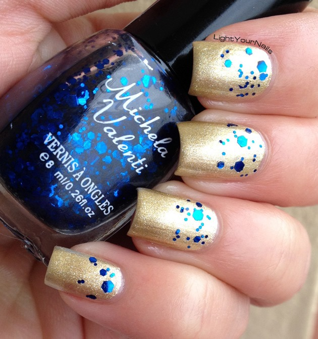 Gold and blue glitter nail art idea for New Year's Eve