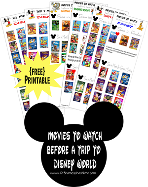 FREE printable with what movies to watch before a trip to Disney World listed by park you are visiting (Magic Kingdom, Animal Kingdom, Epcot, and Hollywood Studios). This is a must for Disney World planning fro your next family vacation