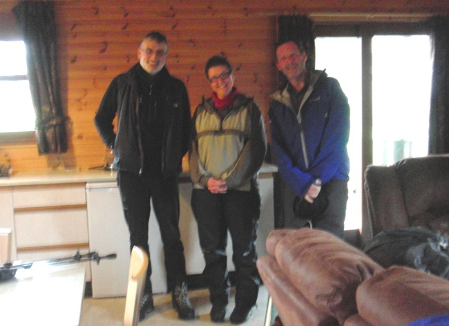 LAURA'S PIC INSIDE THE CABIN: ME, LOUISE & ANDY