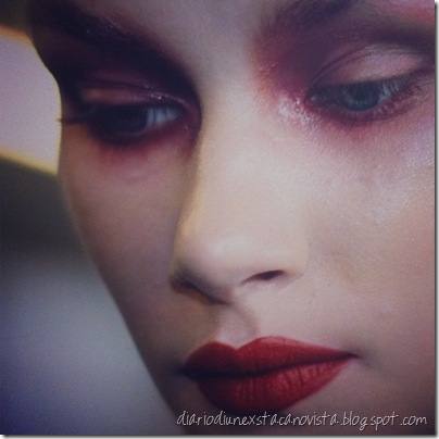 Alex Box's make up backstage for Gareth Pugh