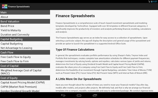Finance Spreadsheets for PC
