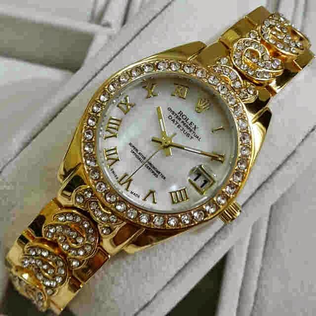 Jual jam tangan Rolex tgl mata Gold