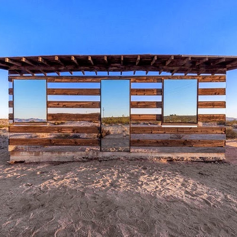 A Mirrored Cabin in the California Desert