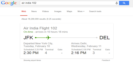 Google Flight schedule