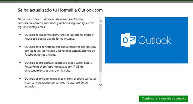 Actualizacion a outlook