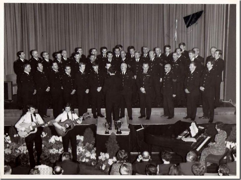 Durham Constabulary Choir at Aykley Heads - 5th May 1973 (the day Sunderland won the FA Cup). Guitarists : Neil Burn & Alan Chesterton. (Picture provided by Fraser Gill (Northumbria cadet in back row)
