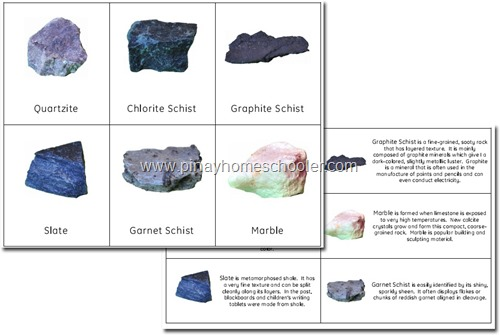 FREE Metamorphic Rocks, Nomenclature and Fact Cards
