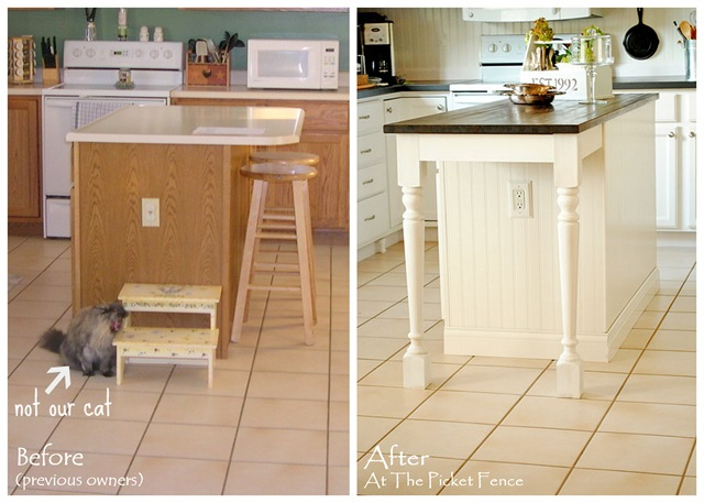 Kitchen island before and after