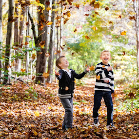 Playing with Leaves by Olga Gerik - Babies & Children Children Candids ( fall, kids, leaves )