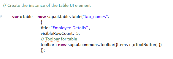 Table with toolbar and Extension toolbar - Team ABAP