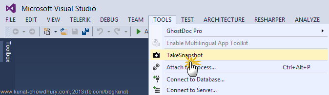 How to take Snapshot manually using the Auto History Extension in Visual Studio 2013