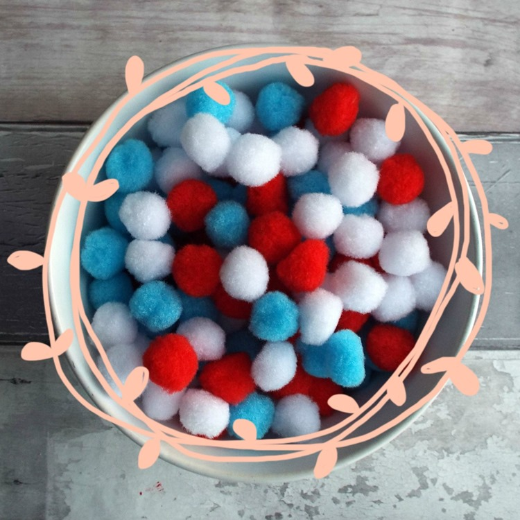 How to make a pom pom garland a bowl of pom poms