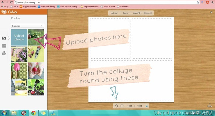 adding photos to blog button collage
