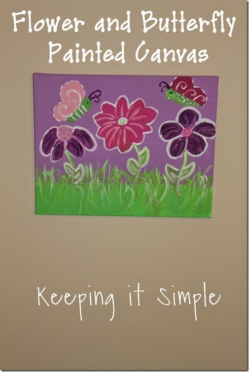 butterfly and flower painted canvas #DecoArt