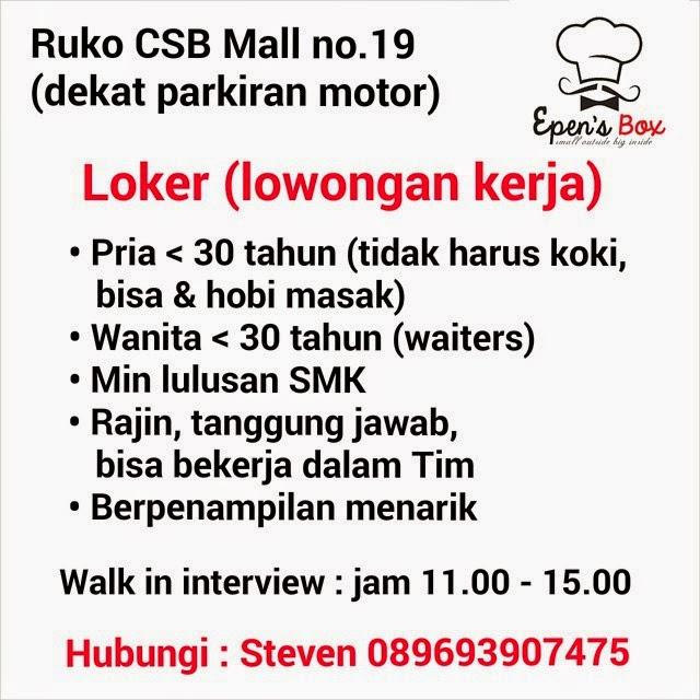 Lowongan Kerja Epen S Box Ruko Csb Mall Cirebon Cirebon Bribin