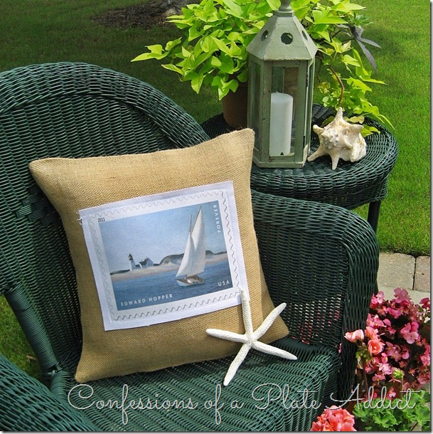 CONFESSIONS OF A PLATE ADDICT Burlap and Canvas Sailboat Pillow