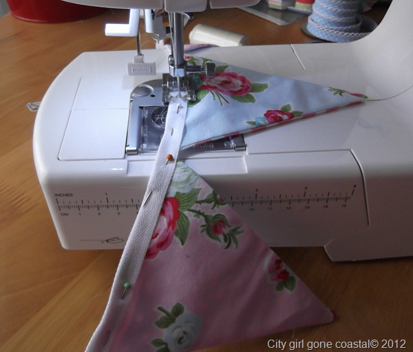 sewing flags to cotton tape