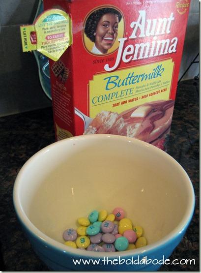 M&M pancake ingredients