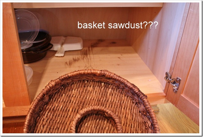 sawdust in cabinet