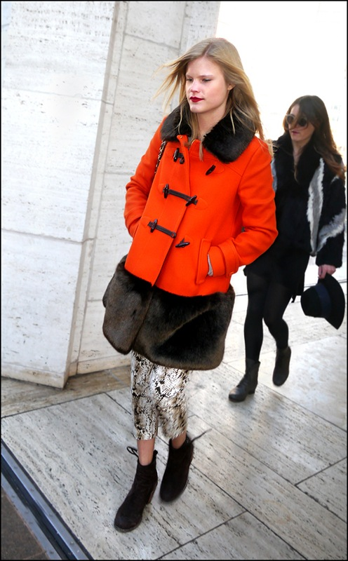11 w orange coat with fur collar and hem trim snake print pants ankle boots ol