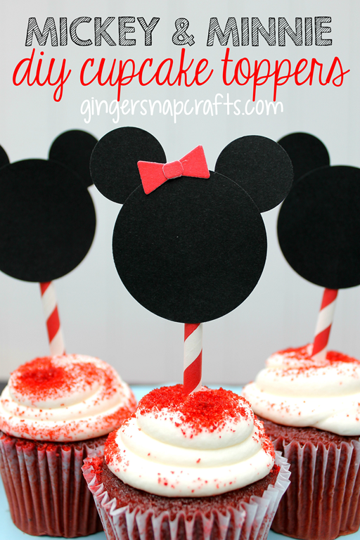 Mickey & Minnie DIY Cupcake Toppers at GingerSnapCrafts.com #disney #monthofdisney #party #ideas