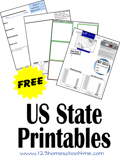 FREE US State Worksheets for kids learning about the united states in homeschool during elementary age kids.
