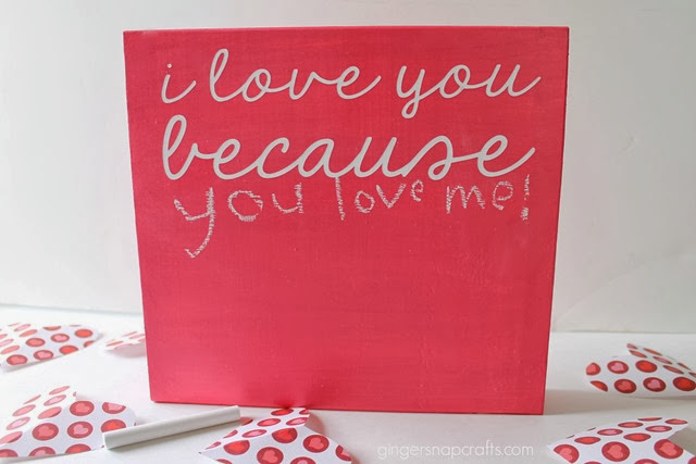 I love you because chalkboard wood block #valentine #chalkboard #tutorial #decoart #spon