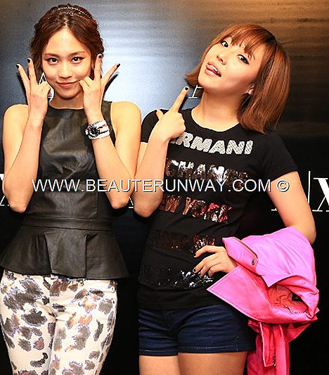 Miss A Min Armani Exchange Spring Summer 2013 Collection Jia Fei Suzy Hot pink leather jacket, demim shorts, logo tee-shirt, peplum leather top blouse, leopard print pants leggings shoes dress accessories watches rings necklace