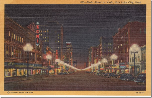 Main Street at Night, Salt Lake City Postcard pg. 1