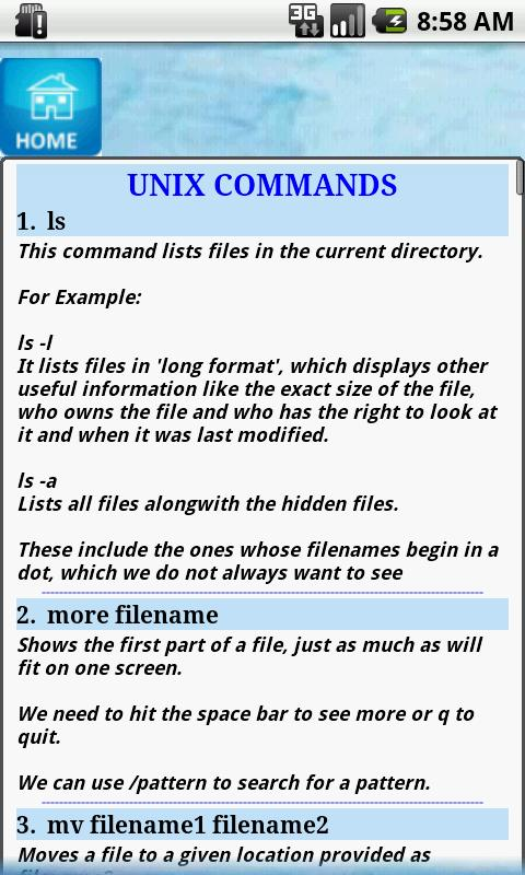 Unix Commands Tutor- screenshot