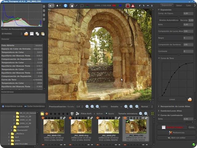 RawTherapee cross-platform raw image processing program: a