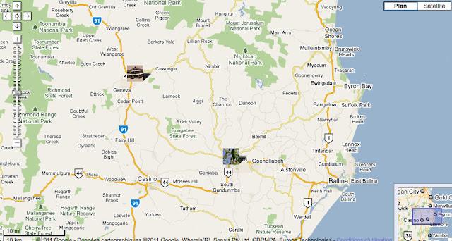 Localisation des photos : Kyogle et Lismore au sud de Brisbane