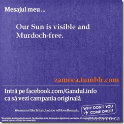 Come2Romania- Our Sun is visible and Murdoch-free