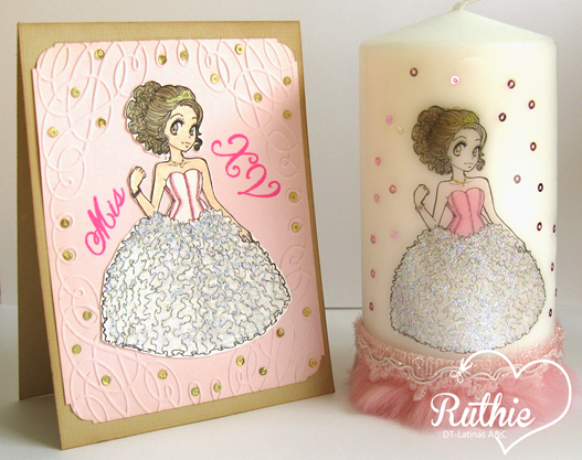 Tutorial usando una estampa digital en una vela - Digi stamp on a candle - Latinas Arts and Crafts - Ruthie Lopez DT 12