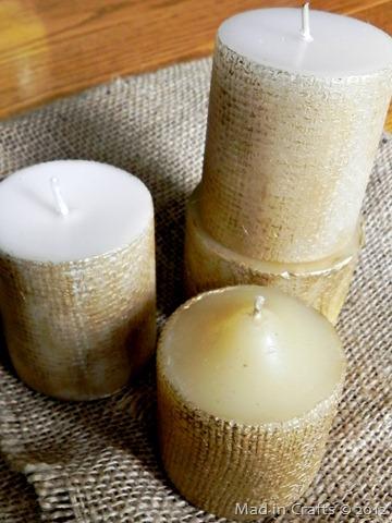 burlap textured candles