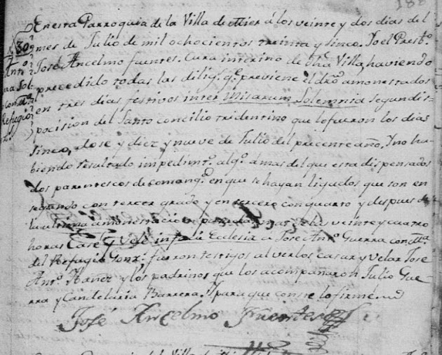 Jose Juan Manuel Antonio Guerra and Maria del Refugio Gonzalez, Familysearch, Mier, 1835 Marriage Pg 1598.JPG