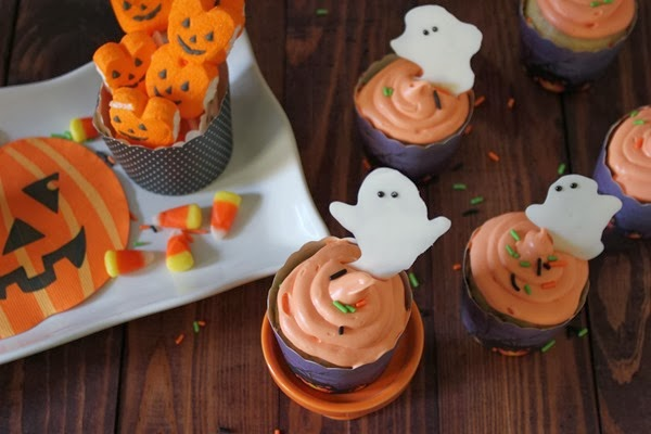 Last Minute Halloween Ghost Cupcake Toppers - Halloween Dessert Table