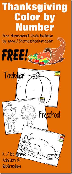 FREE Thanksgiving Color by Number - These kindergarten worksheets and preschool worksheets are a fun math activity. These math worksheets for kids are great for practicing numbers, addition and subtraction.