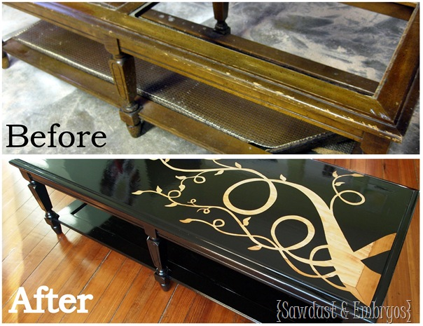 Using Vinyl as a Stencil ~ Wood Grain Coffee Table (by Sawdust and Embryos)