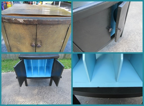 My Repurposed Life-curb found record cabinet gets new life with spray paint
