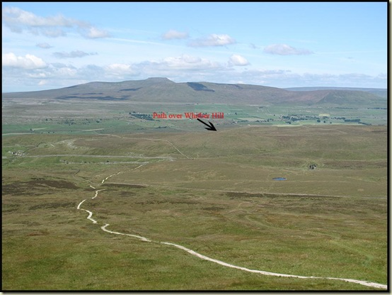 Ingleborough, from Pen-y-ghent, showing our route over Whitber Hill
